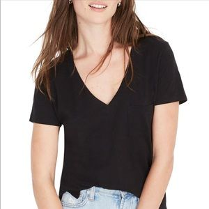 NEW Madewell Whisper Cotton V-Neck Pocket Tee